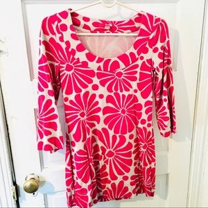 Boden fuchsia pink and off white flower dress